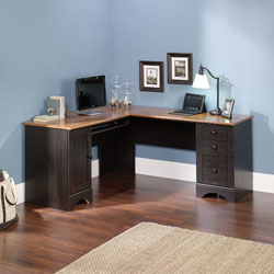 Sauder Harbor View Corner Computer Desk, Antiqued Paint