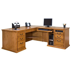 kathy ireland Home by Martin Huntington Oxford Right L-Shaped Desk, Wheat