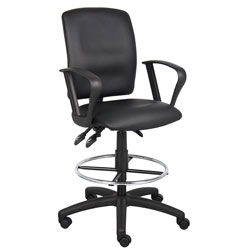Boss Office Products B1647 Multi-Function LeatherPlus Drafting Stool