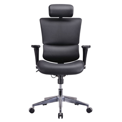 New -GM Seating Ergonomic Executive Genuine Leather Chair Dream Chair Chrome Base