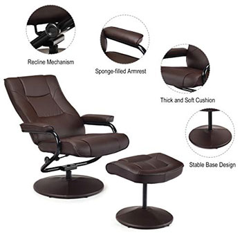 Giantex Recliner Office Chair with Footrest